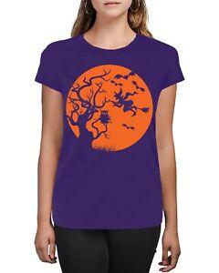 Pumpkin Owl Witch Trick Or Treat Halloween Silhouette  Women's T-Shirt