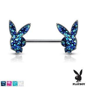 Druzy Stone Playboy Bunny Surgical Steel Nipple Bar