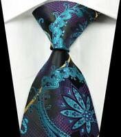 Hot Classic Paisley Blue Purple Black JACQUARD WOVEN 100% Silk Men's Tie Necktie