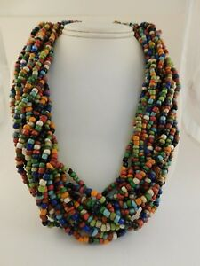 MULTICOLOR TRIBAL GLASS BEAD TORSADE NECKLACE MULTISTRAND TWISTED