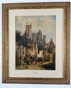 Breathtaking Antique Painting San Gimignano Charles-Théodore Frère (1814-1888)