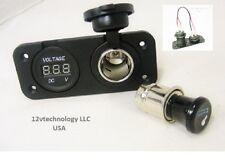 Cigarette Lighter Plug Socket Power Outlet Motorcycle Mount Marine 12V Voltmeter