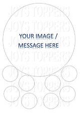 Personalizzata + FOTO IMMAGINE PERSONALIZZATA ROUND commestibili ICED / Ghiaccio / FROSTING caketopper