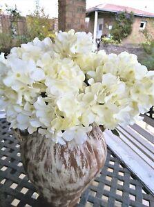 9 Stiele Hortensien über 60 Blüten Weiß Grün Landhaus Blüten Kunstblume Landhaus