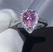 1.60Ct Pear Cut Pink Sapphire Diamond Halo Engagement Ring 14K White Gold Finish
