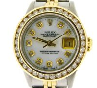 Rolex Datejust Lady 18K Yellow Gold & Steel Watch 1.50ct Diamond Bezel White MOP