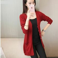Long V-Neck Cashmere Cardigan Sweater Spring Autumn Knitted Women's Coat Pockets