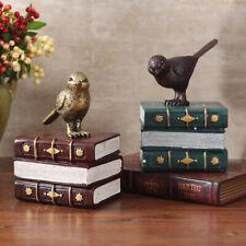 Vintage Bird Ornament Bookends Resin Craft Book Stand Home Offce Desktop Decor
