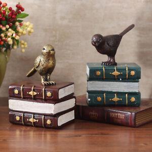 1pc Retro Bird Ornament Bookends Resin Craft Book Stand Home Offce Desktop Decor