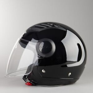 CASCO MOTO SCOOTER DEMI JET CON VISIERA LS2 OF562 AIRFLOW NEW NERO LUCIDO L52