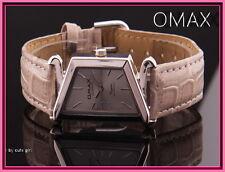 Nobile Omax donna, metallo, Argento, Taupe, cuoio, Orologio da polso EAN 4212345000126