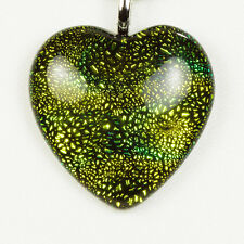 Golden Green Heart Pendant Necklace Black Leather Cord 925 Clasp Gift for Her
