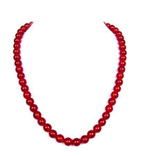 """Red carnelian bead necklace -8mm -20"""" long NKL280002"""
