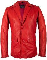 Herren Leder Sakko Blazer aus echtem Lammleder in rot Taillierte Passform Slim