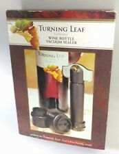 New listing Wine Bottle Vacuum Sealer + 2 stoppers in Box Turning Leaf