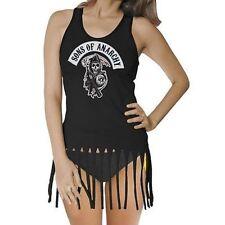 Authentic Sons Of Anarchy Rocker Patch Fringe Tank Top Girls Soa Biker Shirt Xl