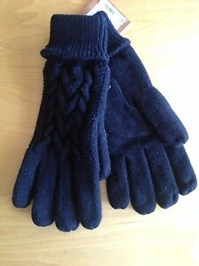 NEW RARE Isotoner Women's Cable Knit Thinsulate Gloves (SIZE 1SZ) BLACK COLOR