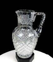 "ABP BRILLIANT PERIOD CUT CRYSTAL STRAWBERRY FAN NOTCHED 8 3/4"" PITCHER 1890-1915"