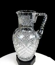 """ABP BRILLIANT PERIOD CUT CRYSTAL STRAWBERRY FAN NOTCHED 8 3/4"""" PITCHER 1890-1915"""