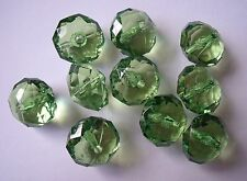 10 lime green 18mm x 13mm acrylic faceted rondelle beads
