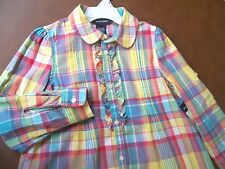 Ralph Lauren Ruffle Front Plaid Blouse w/adj sleeve length Girl's size 6 New $45