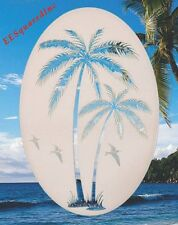 Palm Trees Left Leaning Static Cling Window Decal 26x41 OVAL for Glass Doors