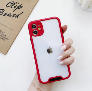 SHOCKPROOF plating clear Case For iPhone 11 12 Pro MAX Mini XR XS 7/8 PLUS Cover