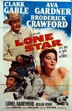 WESTERN AVA GARDNER CLARK GABLE LONE STAR 1952 ONE SHEET ORIGINALE M.G.M.