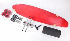 """Red 40"""" Kicktail Longboard Skateboard With Clear Red Wheels Complete Kit"""