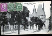 AUBIGNY-sur-NERE (18) ECOLE de FILLES & COUR du CHATEAU en 1934