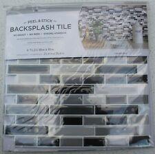 "INHOME SMOKED GLASS BACKSPLASH TILES PEEL + STICK NH2362 PACK OF 4 TILES 10""x10"""