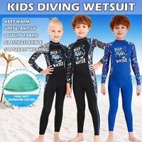 Kid Long Sleeve Stretch Full Body Wetsuit Surf Swim Diving Steamer Wet Suit+Cap