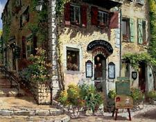 Canvas Print Oil painting Picture French town restaurant scene on canvas L698