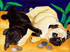8x10 PUG PLAY Black Fawn Pugs Dog Art PRINT of Original Painting Artwork by VERN