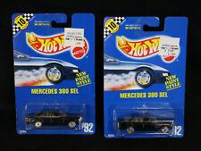 Lot of 2 NOS MOC 1990 Hot Wheels #92 Black Mercedes 380 SEL w/Silver Wheels