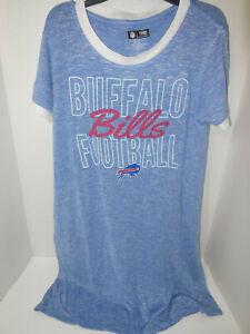 New Ladies Buffalo Bills Heathered Blue Layover Knit Tri-Blend Sweater Dress Med