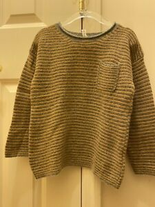 Babe & Tess Boys Mustard And Gray Striped Alpaca Sweater Size 4 Bonpoint Style