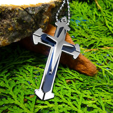 Men's Black & Silver Stainless Steel Cross Pendant Ball-Chain Necklace