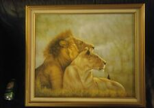 framed painting of two lions