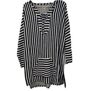 Soft Surroundings Offshore Longline Pullover Hoodie Navy Blue Stripe Women's XL