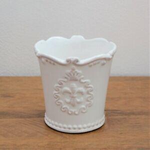 Vintage Style White Ceramic Plant Pot Fleur De Lis Decorative Indoor Planter Jar