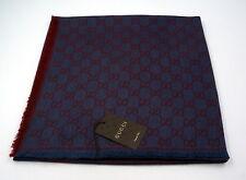 Original GUCCI Schal Tuch, XL 140x140 Wolle, Seide, Blau, Logo Print Unisex NEU