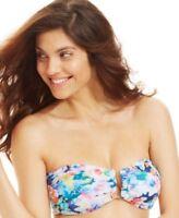 Bar III Split-Neck Bandeau Bikini Top Multi-Color Size Medium