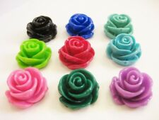 Resin Large Rose Beads x 10pcs 23mm Flower Craft Making Assorted Colours