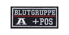 A + Pos Blutgruppe Patch Aufnäher Badge Biker Heavy Rocker Bügelbild Kutte Stick