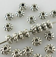 120pcs 4mm Antique Silver Mini Loose Daisy Charms Spacer Beads Beading