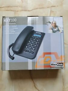 Phone Telephone MAXCOM KXT 100 Corded Push Button Wall Blue Backlight LCD Redial