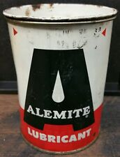 1x Vintage ALEMITE Lubricant Can Partially filled Nice Piece White top A5-17