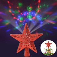 Christmas Tree Topper Lighted Star Rotating Decorations Projector 3D Glitter Red