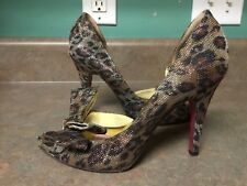 Women's PARIS HILTON Animal Print Heels Shoes Pumps With Bow 6M (CON15)